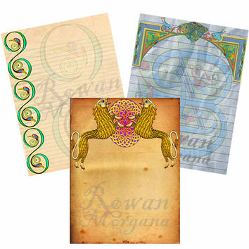 CELTIC  Digital Download,   3 Pages -  Blank Book of Shadows Pages, Grimoire, Scrapbook, Spells