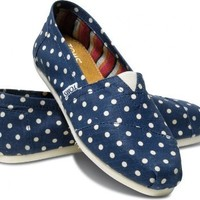 Toms Women's Classics Polka Dot Linen Navy Polka Casual Shoe 6.5 Women US