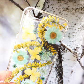 iPhone 6/6s case, real pressed flower phone case, resin floral bumper case