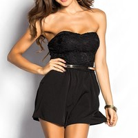 Madison Black Crochet Lace Strapless Romper with Pockets