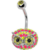 Yellow Gem with Multi Neon Feathers Owl Face Belly Ring | Body Candy Body Jewelry