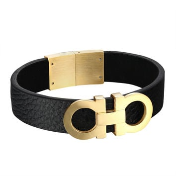 AA Design Bracelet Black Leather Wristband Luxury Style Stainless Steel Unique Jewelry