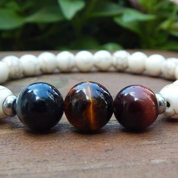 Mens Blue, Red and Yellow Tiger Eye Bracelet with Creamy Howlite