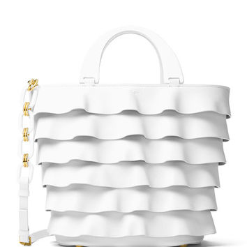Michael Kors Stanwyck Ruffled Leather Tote Bag, White