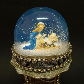 Vintage Baby Jesus with Mother Mary RARE snow globe kitsch religious art rhinestones dome