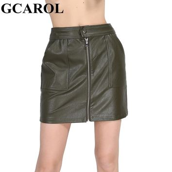GCAROL New Arrival Faux Leather Women Skirt 3 Colors Polyester Lining PU Skirt 2 Pockets Sexy Popular Skirt For 4 Season