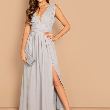 Ruched Waistband High Split Plunging Prom Dress