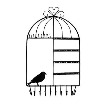 Ushoppingcart Wall Mount Jewelry Organizer Hanging Earring Holder Necklace Jewellry Display Stand Rack (birdcage pattern: black)