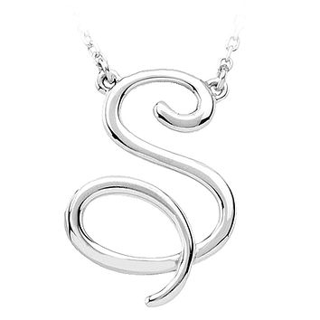14k White Gold, Olivia Collection, Medium Script Initial S Necklace