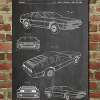 DeLorean Patent Poster, Back to the Future Poster, Car Enthusiast, Car Poster, Mechanic Gift, Teen Room Wall Art, PP354