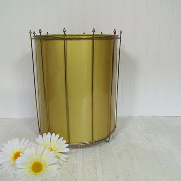 Mid Century Gold Tone & Brass Two Piece Metal Large Waste Can - Vintage Matching Catch All Umbrella Bin - Mad Men Atomic Shell Trash Basket