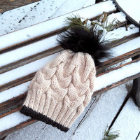 Knit Women Hat/ Hand Knit Hat/ Pom pom Hat/ Knitted Beanie/ Winter Pom pom Hat/ Beanie for Women