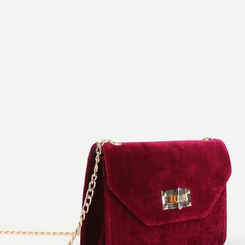 Velvet Chain Crossbody Purse