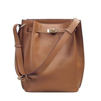 Ainifeel Women's Genuine Leather Bucket Shoulder Handbags Hobo Purse