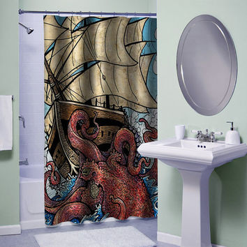 the octopus attack shower curtain