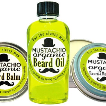 Wax, Balm & Oil Beard Trio by Mustachio Organic - 2 Oz. Tins/Bottle
