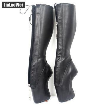 "jialuowei 7"" Super High Heel Ballet Boots Hoof Heelless Heels Stiletto Pointe Punk Goth YKK Lockable Zipper Sexy Fetish Boots"