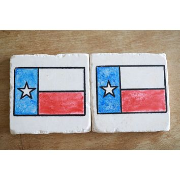 Texas Flag Marble Coaster Set
