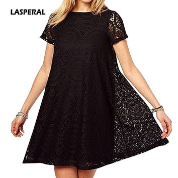 LASPERAL 2018 New Summer Lace Print Dress Casual Loose O Neck Short Sleeve Sundress Hollow Out Slim Beach Sundress Plus Size 5XL