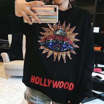 """Gucci"" Women Casual Fashion UFO Pattern Sequin Letter Embroidery Long Sleeve Loose Cotton Sweater Tops"