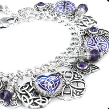 Purple Celtic Charm Bracelet