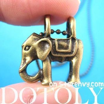 Small Elephant Animal Charm Pendant Necklace in Bronze