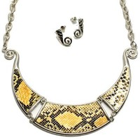 Charm & Rock Snake Faux Leather Necklace