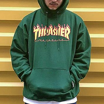 Thrasher Autumn And Winter New Fashion Bust Flame Print Women Men Hooded Long Sleeve Top Sweater Green