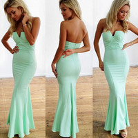 Sexy strapless green party dress  GHS74S