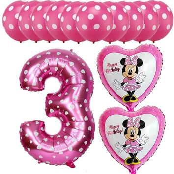 13Pcs Mickey Minnie Pink Blue Foil Balloons Helium Latex Globos Balloon Baby Boys Girls 3 Years Old Birthday Party Decoration