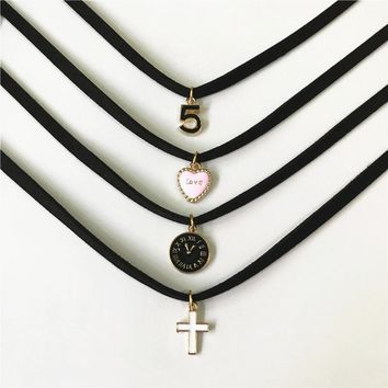 Fashion Charm Jewelry Women Gothic Black Lace Velvet Choker Necklace  Love Cross Necklaces & Pendants For Women Gifts Handmade