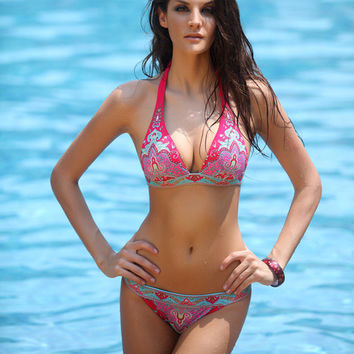 Hot Pink Baroque Print Halter Low Rise Bikini