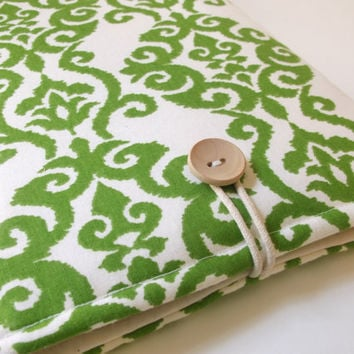 13 inch Laptop Case, laptop sleeve 13, Asus Ultrabook, Lenovo IdeaPad, Sony Vaio, Macbook case 13, Ikat Damask Emerald Green