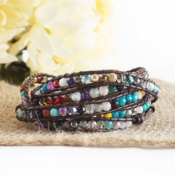 "HOLIDAY CLEARANCE SALE! The Cheerful in Colors - 34"" Multicolor Beaded Brown Leather Wrap Bracelet"