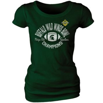 Michigan State Spartans Women's 2012 Buffalo Wild Wings Bowl Champions T-Shirt - Green - http://www.shareasale.com/m-pr.cfm?merchantID=7124&userID=1042934&productID=555885044 / Michigan State Spartans