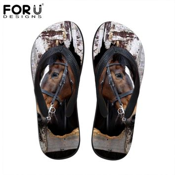 FORUDESIGNS Fashion Men's Summer Flip Flops 3D Animals Print Rubber Slippers Cool Crazy Horse Male Sandals Flat Beach Shoes Man