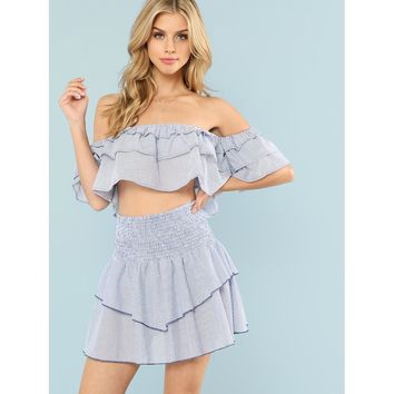 Blue Tiered Ruffle Bardot Top And High Waist Skirt Co Ord