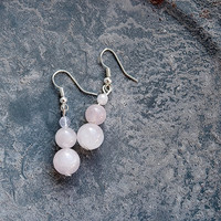 Rose Quartz Earrings / Bead Drop Earrings / Elegant / Womens Earrings /  For Her / Dangle / Hipster Earrings / Gift / Boho