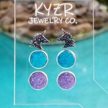 Druzy earring set- Aqua/ Lilac and Rainbow unicorn drusy stud set