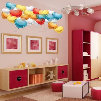 Full color Balloons heart sticker, Balloons heart Decal, wall art decal gc263