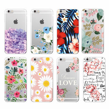 2016 Floral Flowers Rose Daisy Cherry Blossom Fashion Soft TPU Printed Phone Case Cover For iPhone 4 5 6 7 S Plus SE 5C