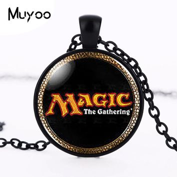 Magic the Gathering MtG Logo Cards Card Mens Handmade Fashion Necklace brass silver Pendant steampunk Jewelry Gift women HZ1