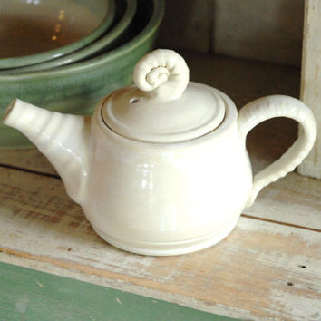 White pottery teapot,small clay teapot,teapot for two,Winter white pot,I'm a little teapot,Spiral teapot,tea lovers gift,
