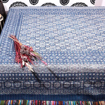 Blue Queen Quilt , Handmade Kantha Throw Quilt ,Organic Vegetable Ajrakh Indigo Prints Bedspreads Bed Cover Blanket , Indian Quilt , Sari