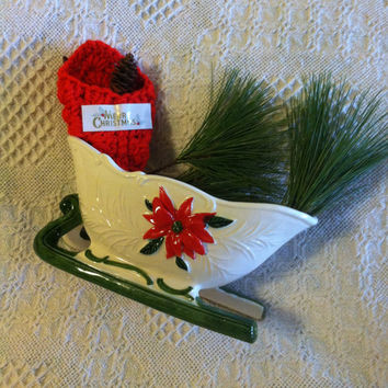 Christmas Ceramic Sleigh Planter Home Decor With Poinsettias Red Green White Holiday Decoration Holder Mid Century Vintage Napco
