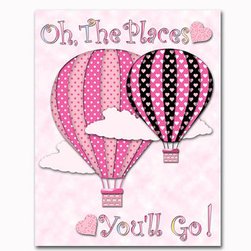 Pink black nursery art baby girl room decor toddler artwork kids decoration playroom poster hot air balloon print baby shower newborn gift