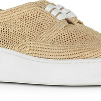 Robert Clergerie Taille Natural Perforated Raffia Platform Derby Shoes