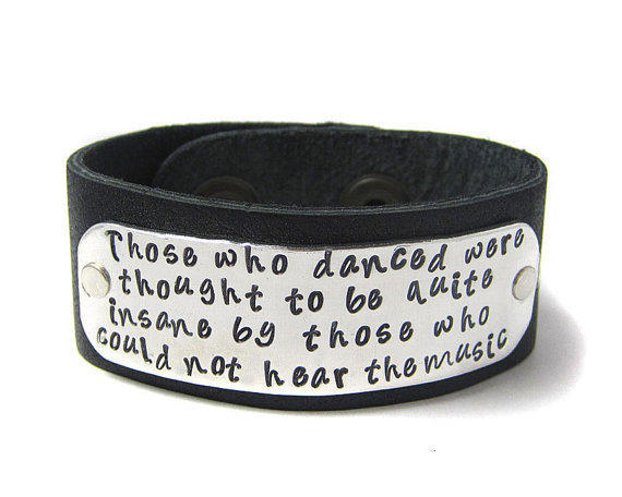 inspirational quote bracelet leather cuff from geekdecree