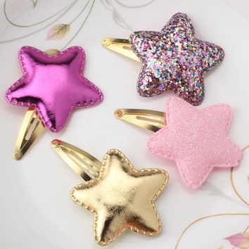 Baby Girls Cute Headwear Shiny Leather Star Bow Heart BB Clip Children Accessories Hairpins Metal Color Glitter Hair clip