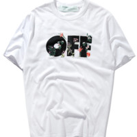 OFF Embroidered Printed Short-Sleeved T-Shirt